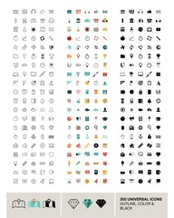 300 vector universal icons made in outline, color and black