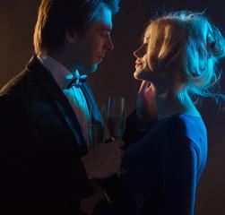 Dark portrait of a romantic couple