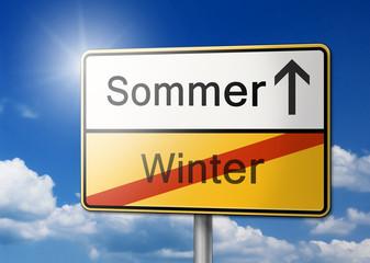 Jahreszeit Wechsel Sommer Winter Schild Hintergrund