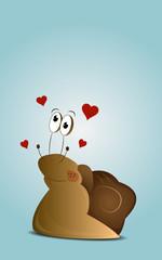 Cartoon enamored snail
