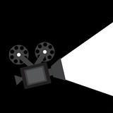 The camera icon black light background vector illustration poster