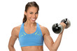 African Amerian Woman Using Dumbbell