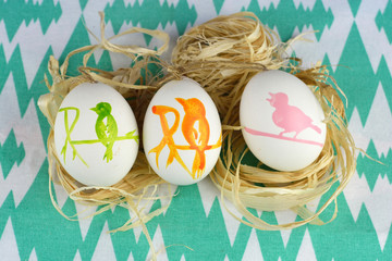 Decorated Easter eggs in the spring