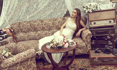Beautiful pregnant woman in retro style