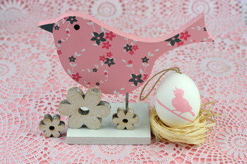 Easter decoration in pink colors in the spring