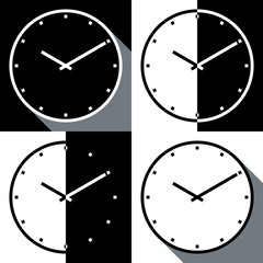 4 simple flat clocks long shadow and two tome style