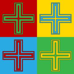 Pop art religious cross symbol icons.