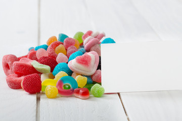 Candies with blank white paper