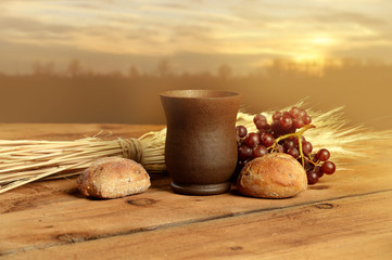 Communion Elements at Sunset