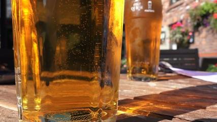 4k 2 pint glasses summer day, british pub culture
