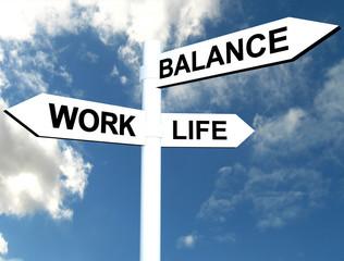 Work Life Balance road direction sign