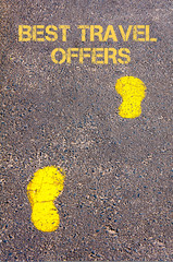 Yellow footsteps on sidewalk towards Best Travel Offers message