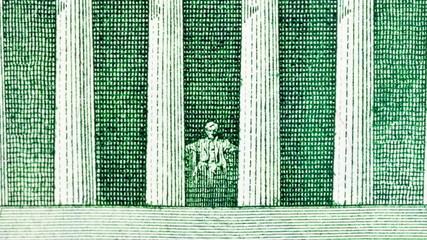 Lincoln Memorial Five Dollar Bill Macro Zoom