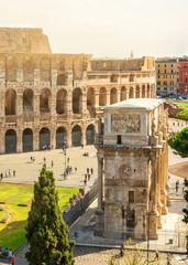 Colosseum and Arch of Constantine in Rome