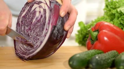 cauliflower. Cutting salad.