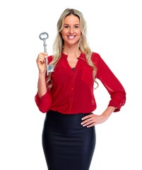 Woman with house key in red blouse.