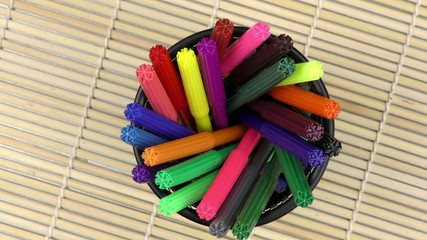 Colorful Paint Pen Equipment Tools on Wooden Background