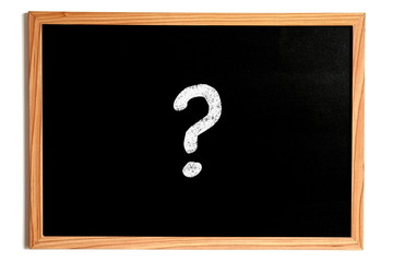 One Single Question Mark on Chalkboard