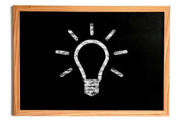 Light Bulb Shape on Chalkboard, Idea Concept