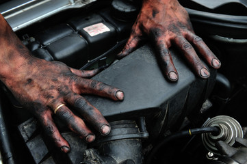 dirty, mechanic, hands, human, reparing, work