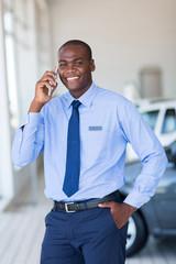 salesman talking on mobile phone
