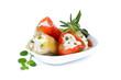 Leinwanddruck Bild - Gefüllte grüne und rote Peperoni