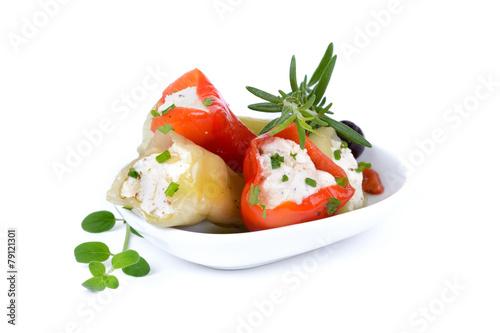 Leinwanddruck Bild Gefüllte grüne und rote Peperoni