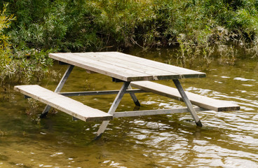 Empty picnic table in water by plants