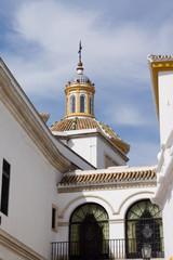 White church tower in Seville