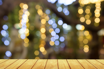 wooden table blur bokeh lights Background