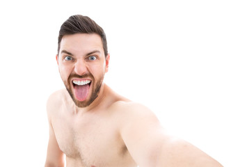 Man making selfie on white background
