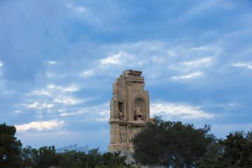 Monument of Filopappou (or Philopappou) in Athens Greece