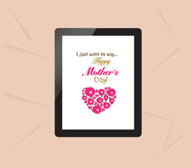 happy mothers with greeting card in tablet