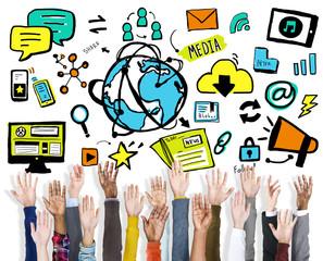 Diversity Hands Media Sharing Support Volunteer Concept