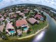 Waterfront neighborhood aerial view