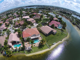 Waterfront neighborhood aerial view