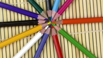 Colorful Paint Pencils Equipment Tools on Wooden Background