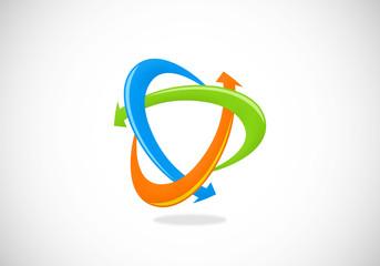 3D circle arrow color vector logo