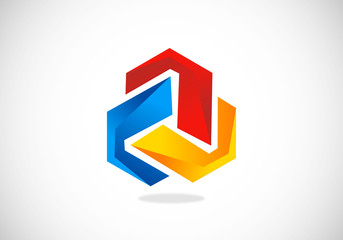3D circle abstract construction vector logo