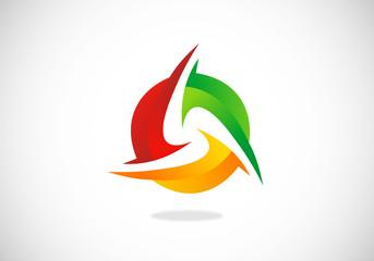 3D circle abstract colorful vector logo