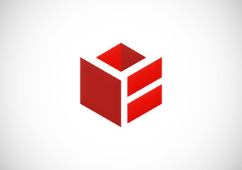 3D cube box perspective abstract vector logo