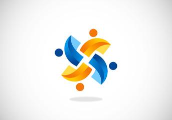 3D circular teamwork technology vector logo