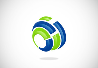 3D circle tool abstract vector logo