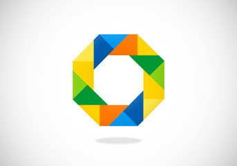 abstract polygon square vector logo