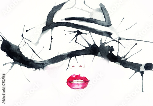 woman with hat .abstract watercolor .fashion background © Anna Ismagilova