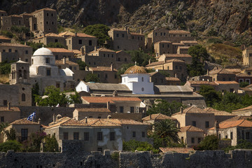View of traditional style stone houses on island Monemvasia.