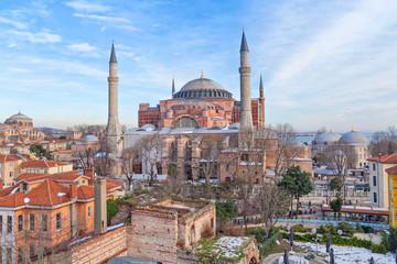 Hagia Sophia in winter evening
