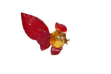 one fish of the color red glass