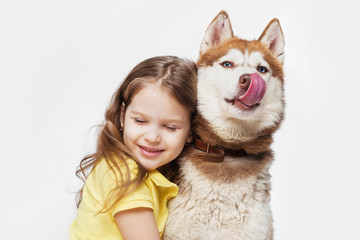 Girl with a  husky, on a gray background