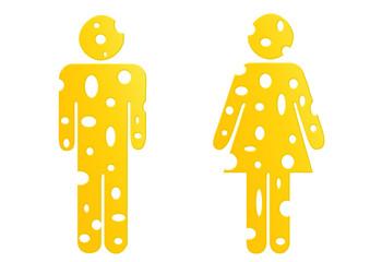 Käse / Mann und Frau / Piktogramm / Chees